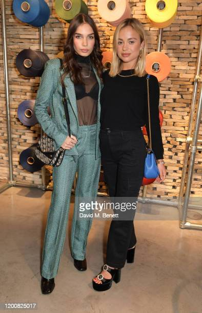 Hana Cross and Lady Amelia Windsor attend the Mulberry Made to Last dinner on February 14 2020 in London England