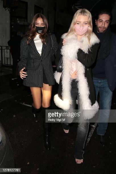 Hana Cross and Lottie Moss seen at Bagatelle restaurant in Mayfair on October 02, 2020 in London, England.