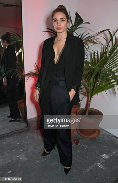 Hana Cross attends the LOVE x The Store X party celebrating LOVE issue 21 supported by Perrier Jouet at The Store X on February 18 2019 in London...