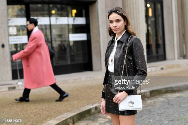 Hana Cross attends the Miu Miu show as part of the Paris Fashion Week Womenswear Fall/Winter 2019/2020 on March 05 2019 in Paris France