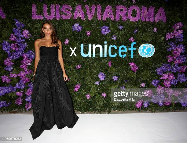 Hana Cross attends the photocall at the LuisaViaRoma for Unicef event at La Certosa di San Giacomo on August 29, 2020 in Capri, Italy.