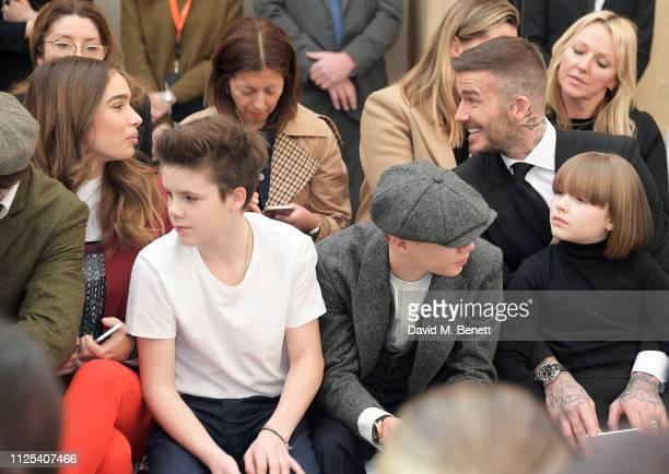 Hana Cross Cruz Beckham Romeo Beckham David Beckham and Harper Beckham attend the Victoria Beckham show during London Fashion Week February 2019 at...