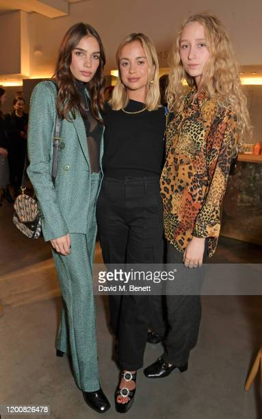 Hana Cross Lady Amelia Windsor and Elfie Reigate attend the Mulberry Made to Last dinner on February 14 2020 in London England
