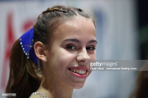 Hana Cvijanovic of Croatia look on at the kiss and cry in the Junior Ladies Free Skating Program during day four of the ISU Junior Grand Prix of...