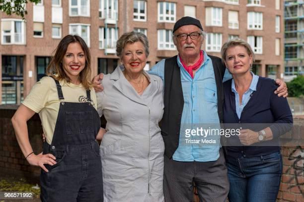 Hana Geissendoerfer MarieLuise Marjan Hans W Geissendoerfer and Andrea Spatzek during the fan event 'Lindenstrasse Kult in Serie' on June 2 2018 in...