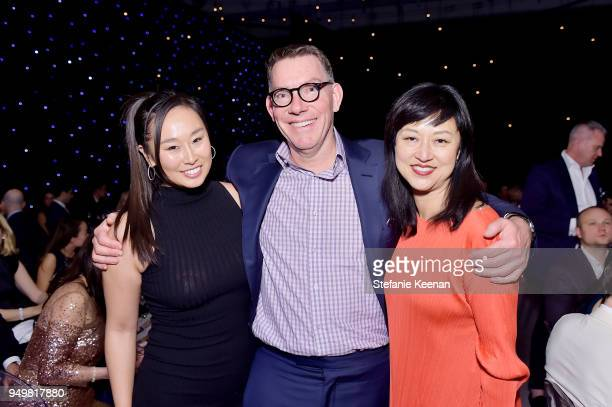Hana Kim LACMA Trustee Kelvin Davis and LACMA Curator Christine Y Kim attend LACMA 2018 Collectors Committee Gala at LACMA on April 21 2018 in Los...