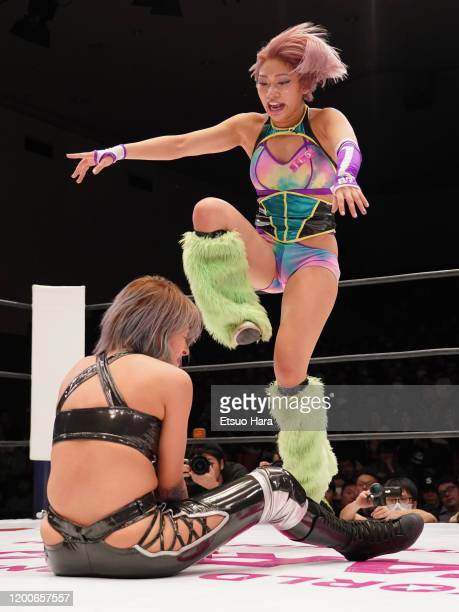 Hana Kimura and Giulia compete during the Women's ProWrestling 'Stardom' at Korakuen Hall on January 19 2020 in Tokyo Japan