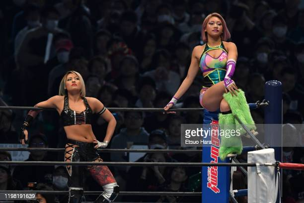Hana Kimura and Giulia enter the ring during the New Japan ProWrestling 'Wrestle Kingdom 14' at the Tokyo Dome on January 04 2020 in Tokyo Japan