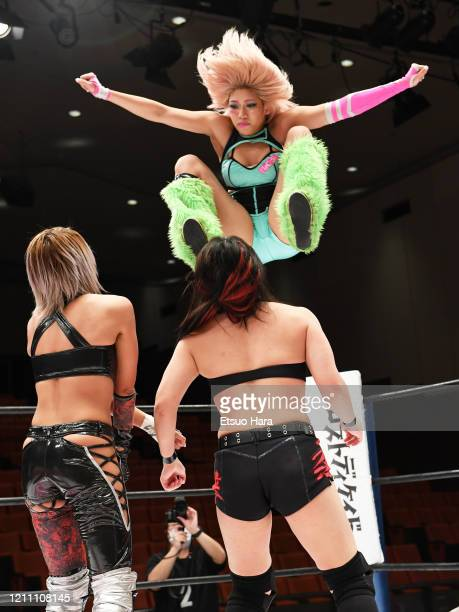 Hana Kimura attacks Giulia and Maika during the Women's ProWrestling Stardom No People Gate at Korakuen Hall on March 08 2020 in Tokyo Japan The...