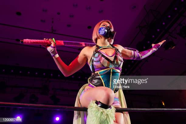 Hana Kimura enters the ring during the Women's ProWrestling 'Stardom' at Korakuen Hall on January 19 2020 in Tokyo Japan