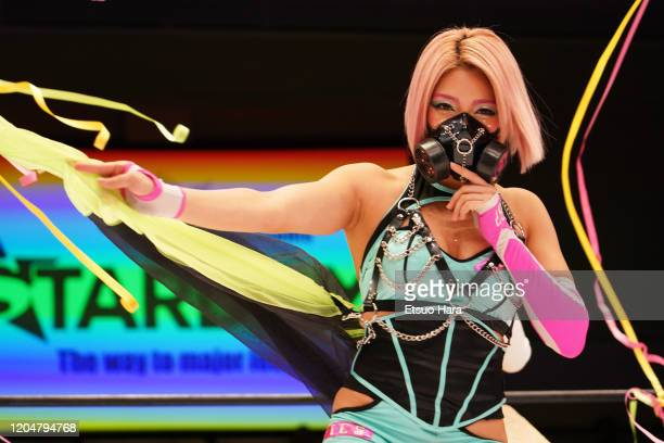 Hana Kimura enters the ring during the Women's ProWrestling 'Stardom' at Korakuen Hall on February 08 2020 in Tokyo Japan