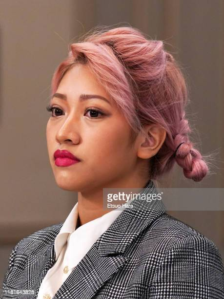 Hana Kimura looks on during the press conference Bushiroad and Stardom on October 17 2019 in Tokyo Japan