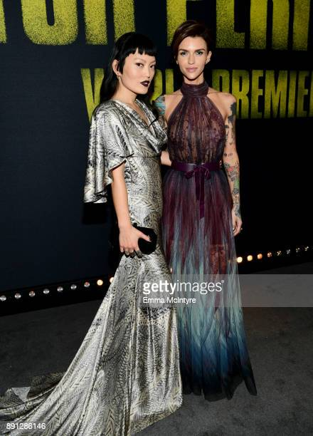 Hana Mae Lee and Ruby Rose attend the premiere of Universal Pictures' 'Pitch Perfect 3' at Dolby Theatre on December 12 2017 in Hollywood California