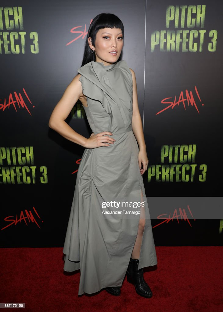 Hana Mae Lee is seen at SLAM! Academy of Miami during the Pitch Perfect 3 special event on December 6, 2017 in Miami, Florida.