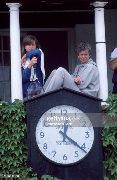 Hana Mandlikova of Czechoslovakia and her coach Betty Stove during the Pilkington Glass Tennis Championships circa June 1985 in Eastbourne England