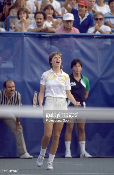 Hana Mandlikova of Czechoslovakia celebrates as she defeats Martina Navratilova of the USA in the Women's Singles Final of the US Open at the USTA...
