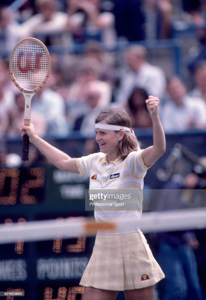 Hana Mandlikova of Czechoslovakia celebrates during the US Open at the USTA National Tennis Center, circa September 1982 in Flushing Meadow, New York, USA.