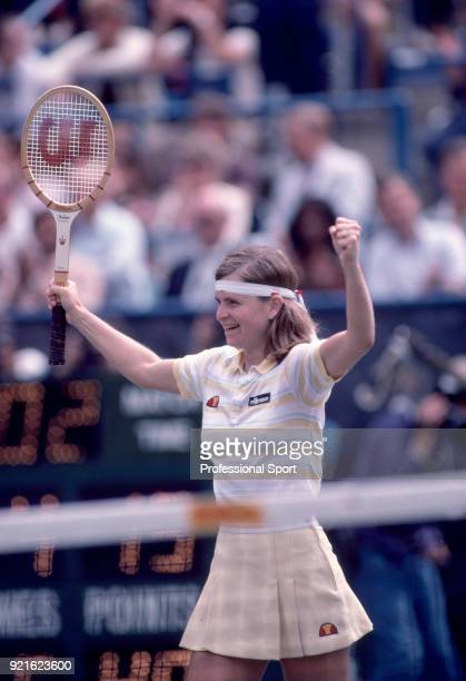 Hana Mandlikova of Czechoslovakia celebrates during the US Open at the USTA National Tennis Center circa September 1982 in Flushing Meadow New York...
