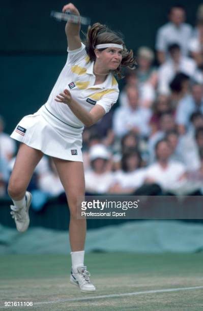 Hana Mandlikova of Czechoslovakia in action against Jo Durie of Great Britain in their Women's Singles Quarter Final match during the Wimbledon Lawn...
