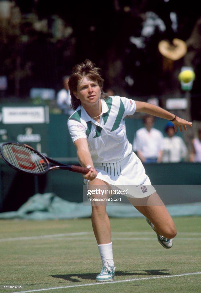 Hana Mandlikova of Czechoslovakia in action, circa 1985.