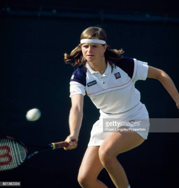 Hana Mandlikova of Czechoslovakia in action during a women's singles match at the Wimbledon Lawn Tennis Championships in London circa July 1984...