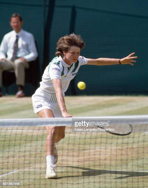 Hana Mandlikova of Czechoslovakia in action during a women's singles match at the Wimbledon Lawn Tennis Championships in London circa July 1986...
