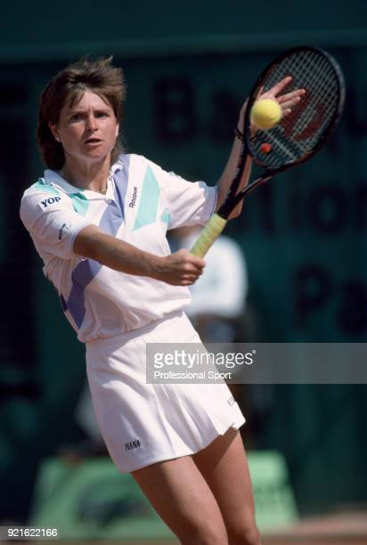 Hana Mandlikova of Czechoslovakia in action during the French Open Tennis Championships at the Stade Roland Garros circa May 1988 in Paris France