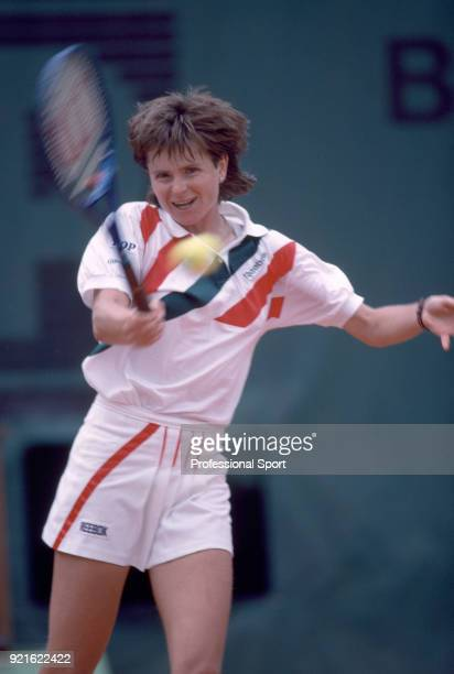 Hana Mandlikova of Czechoslovakia in action during the French Open Tennis Championships at the Stade Roland Garros circa May 1989 in Paris France