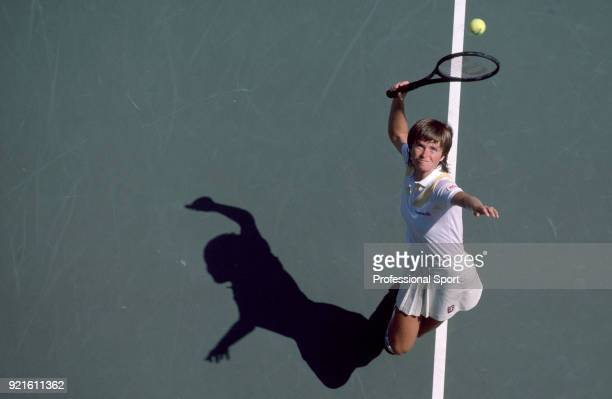 Hana Mandlikova of Czechoslovakia in action during the US Open at the USTA National Tennis Center circa September 1985 in Flushing Meadow New York USA