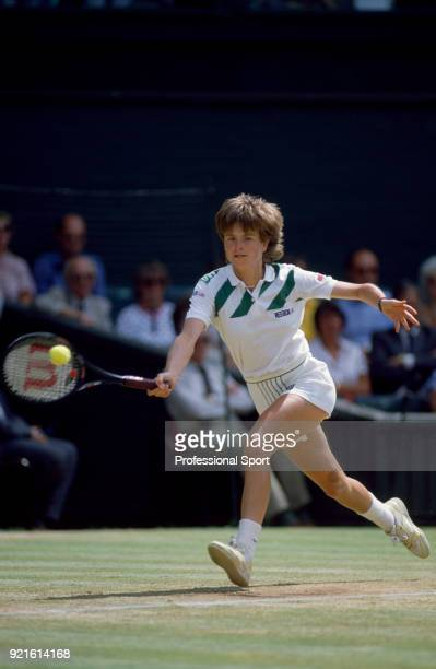Hana Mandlikova of Czechoslovakia in action during the Wimbledon Lawn Tennis Championships at the All England Lawn Tennis and Croquet Club circa June...