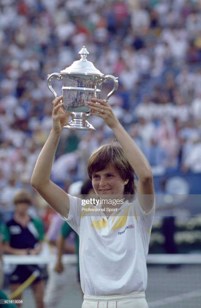 Hana Mandlikova of Czechoslovakia lifts the trophy after defeating Martina Navratilova of the USA (not in picture) in the Women's Singles Final of the US Open at the USTA National Tennis Center on September 7, 1985 in Flushing Meadow, New York, USA.