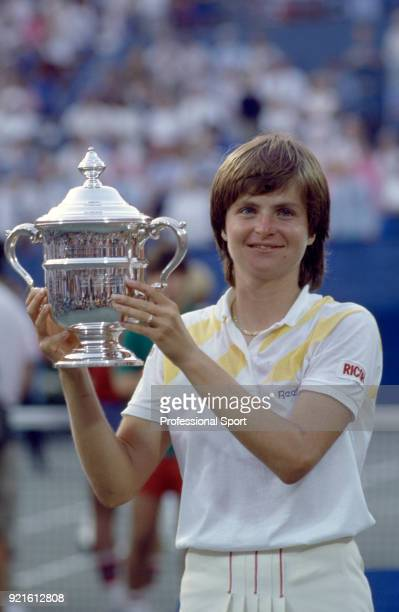 Hana Mandlikova of Czechoslovakia poses with the trophy after defeating Martina Navratilova of the USA in the Women's Singles Final of the US Open at...