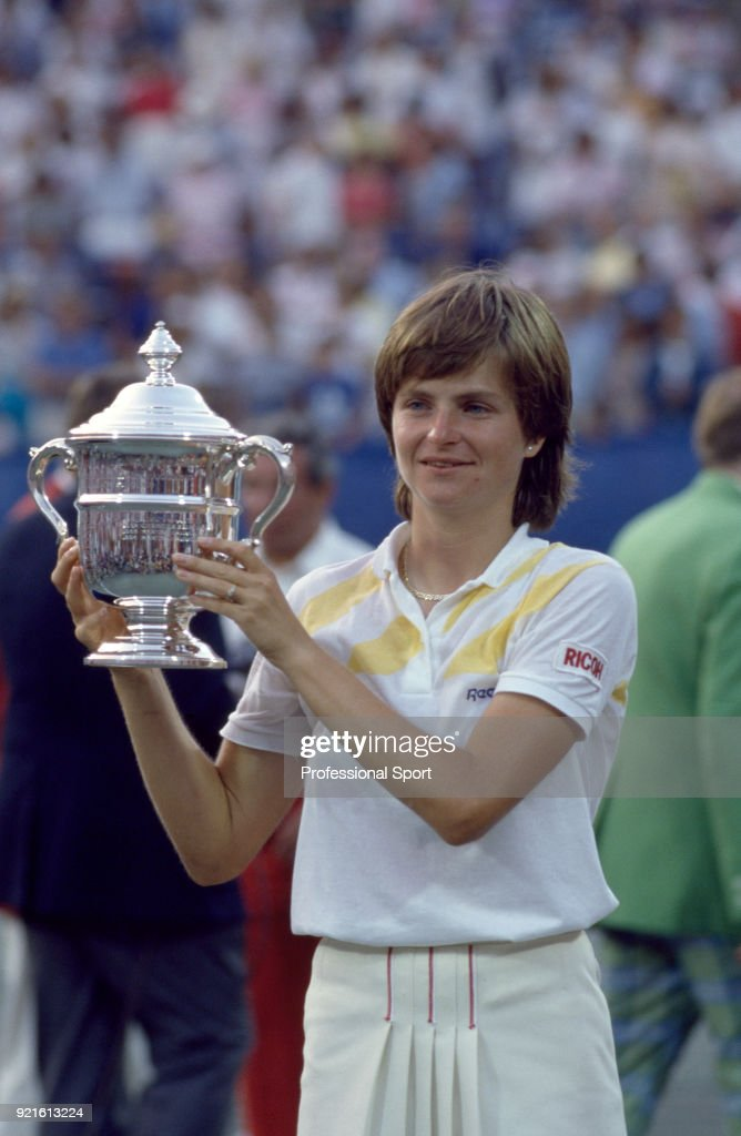 Hana Mandlikova of Czechoslovakia poses with the trophy after defeating Martina Navratilova of the USA (not in picture) in the Women's Singles Final of the US Open at the USTA National Tennis Center on September 7, 1985 in Flushing Meadow, New York, USA.