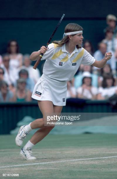 Hana Mandlikova of Czechoslovakia reacts during her Women's Singles Quarter Final match against Jo Durie of Great Britain in the Wimbledon Lawn...
