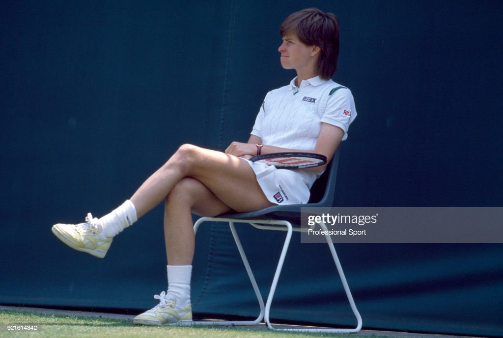Hana Mandlikova of Czechoslovakia sits down for a break during the Wimbledon Lawn Tennis Championships at the All England Lawn Tennis and Croquet Club, circa June, 1986 in London, England.