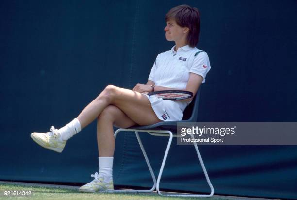 Hana Mandlikova of Czechoslovakia sits down for a break during the Wimbledon Lawn Tennis Championships at the All England Lawn Tennis and Croquet...
