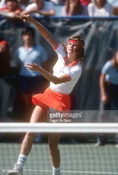 Hana Mandlikova of the Czech Republic hits a return during a match at the Women's 1980 US Open Tennis Championships circa 1980 at National Tennis...
