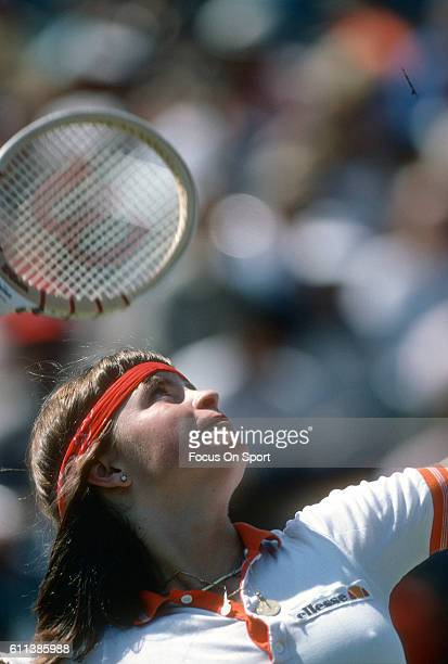 Hana Mandlikova of the Czech Republic hits a return during a match at the Women's 1980 US Open Tennis Championships circa 1980 at National Tennis...
