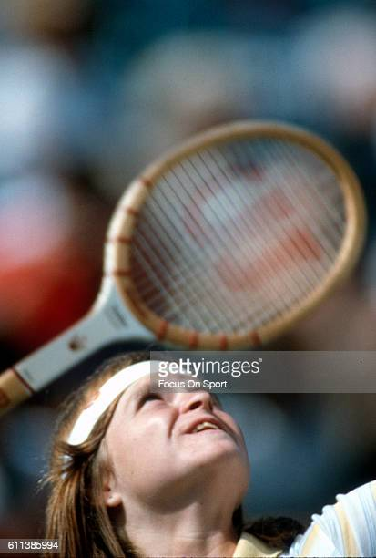 Hana Mandlikova of the Czech Republic hits a return during a match at the Women's 1982 US Open Tennis Championships circa 1982 at National Tennis...