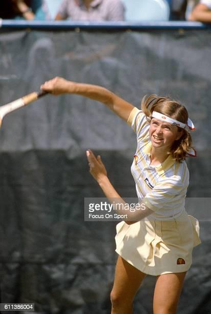 Hana Mandlikova of the Czech Republic hits a return during a match at the Women's 1982 US Open Tennis Championships circa 1982 at National Tennis...