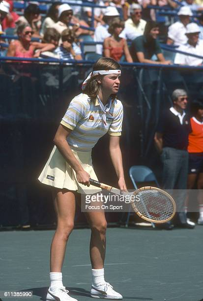 Hana Mandlikova of the Czech Republic in action during a match at the Women's 1982 US Open Tennis Championships circa 1982 at National Tennis Center...