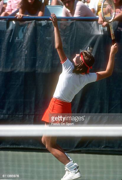 Hana Mandlikova of the Czech Republic serves during a match at the Women's 1980 US Open Tennis Championships circa 1980 at National Tennis Center in...