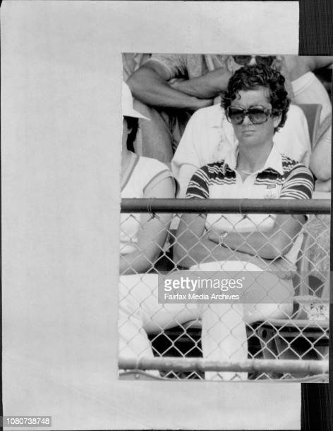 Hana Mandlikova's coach Betty Stove in front row of stand beside usherettes watches and gives language during Hana's match against Wendy...