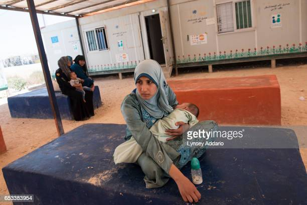 Hana Mufleh Mohammed a Syrian refugee from Daraa waits to meet with a doctor at a clinic run by JHAS and the United Nations Population Fund at the...