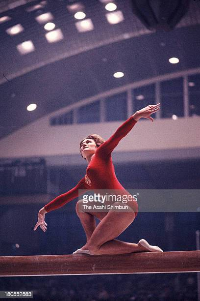 Hana Ruzickova of Czechoslovakia competes in the Balance Beam of the Women's Artistic Gymnastics Individual AllAround during the Tokyo Olympics at...