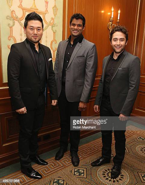 Hana Ryu Sean Panikkar and Josh Page of Forte Tenors attend the Prostate Cancer Foundation Invites You To The 2015 New York Dinner With Celebrity...