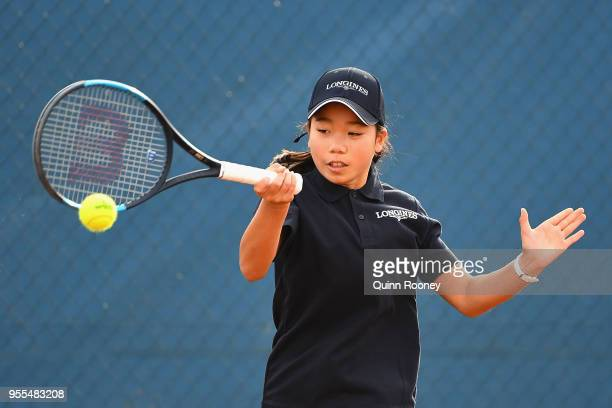 Hana Sonton plays a forehand during the Australian Launch of the Longines Future Tennis Aces Tournament at Melbourne Park on May 7 2018 in Melbourne...