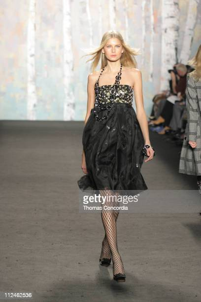 Hana Soukupova wearing Anna Sui Fall 2005 during Olympus Fashion Week Fall 2005 Anna Sui Runway at The Tent Bryant Park in New York City New York...