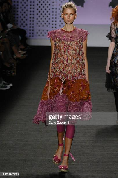 Hana Soukupova wearing Anna Sui Spring 2006 during Olympus Fashion Week Spring 2006 Anna Sui Runway at Bryant Park in New York City New York United...