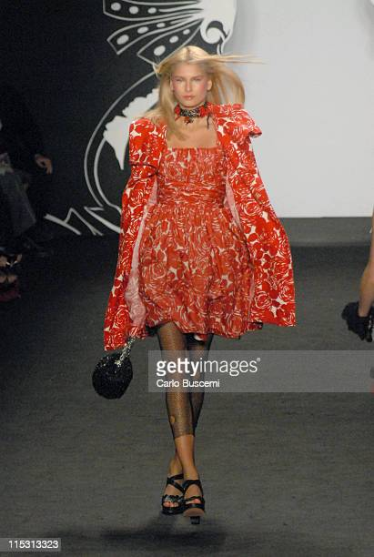Hana Soukupova wearing Anna Sui Spring 2007 during Olympus Fashion Week Spring 2007 Anna Sui Runway in New York City New York United States
